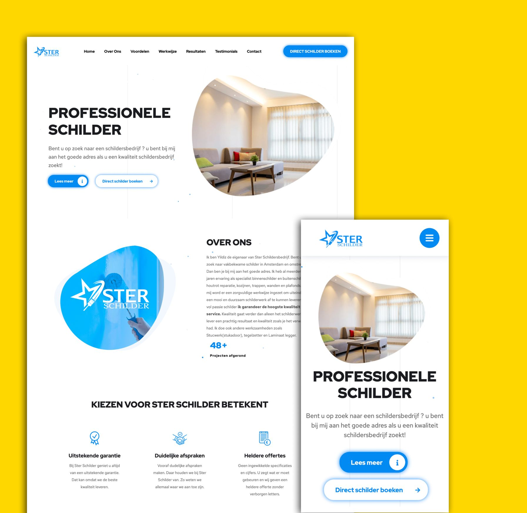 sterschilder website desktop en mobiel